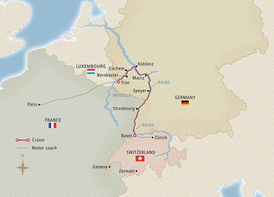 Paris to the Swiss Alps Map