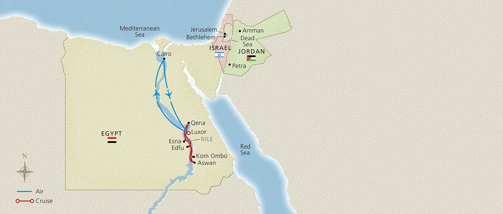 Map of Pharoahs and Pyramids itinerary