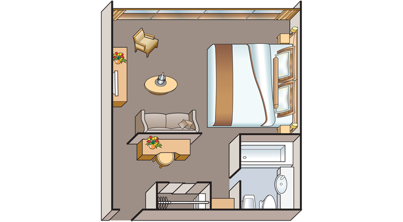 Floorplan of Deluxe French Balcony stateroom on MS Antares