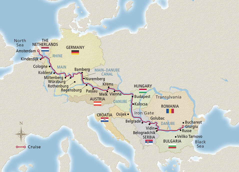 Map of the European Sojourn itinerary