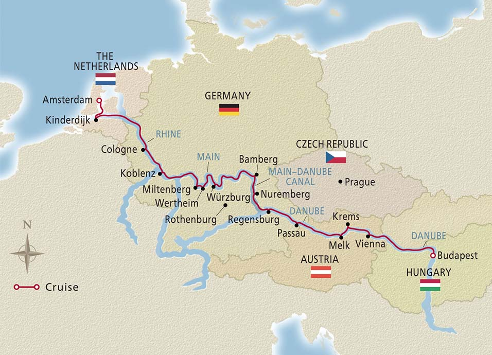Map of Grand European Tour itinerary