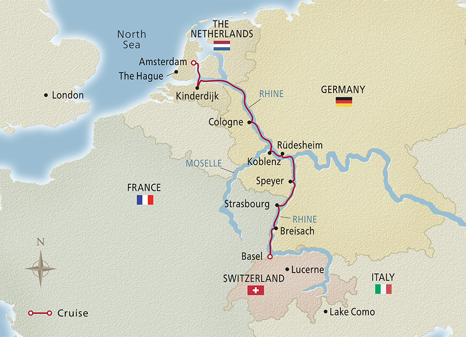 Map of the Rhine Getaway itinerary