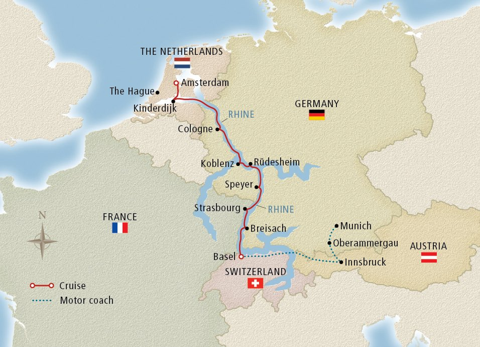 Map of the Oberammergau, the Alps & the Rhine itinerary