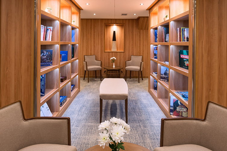 Library shelves on board Viking Akun
