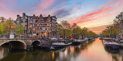 A view of homes and bridges in Amsterdam, The Netherlands.
