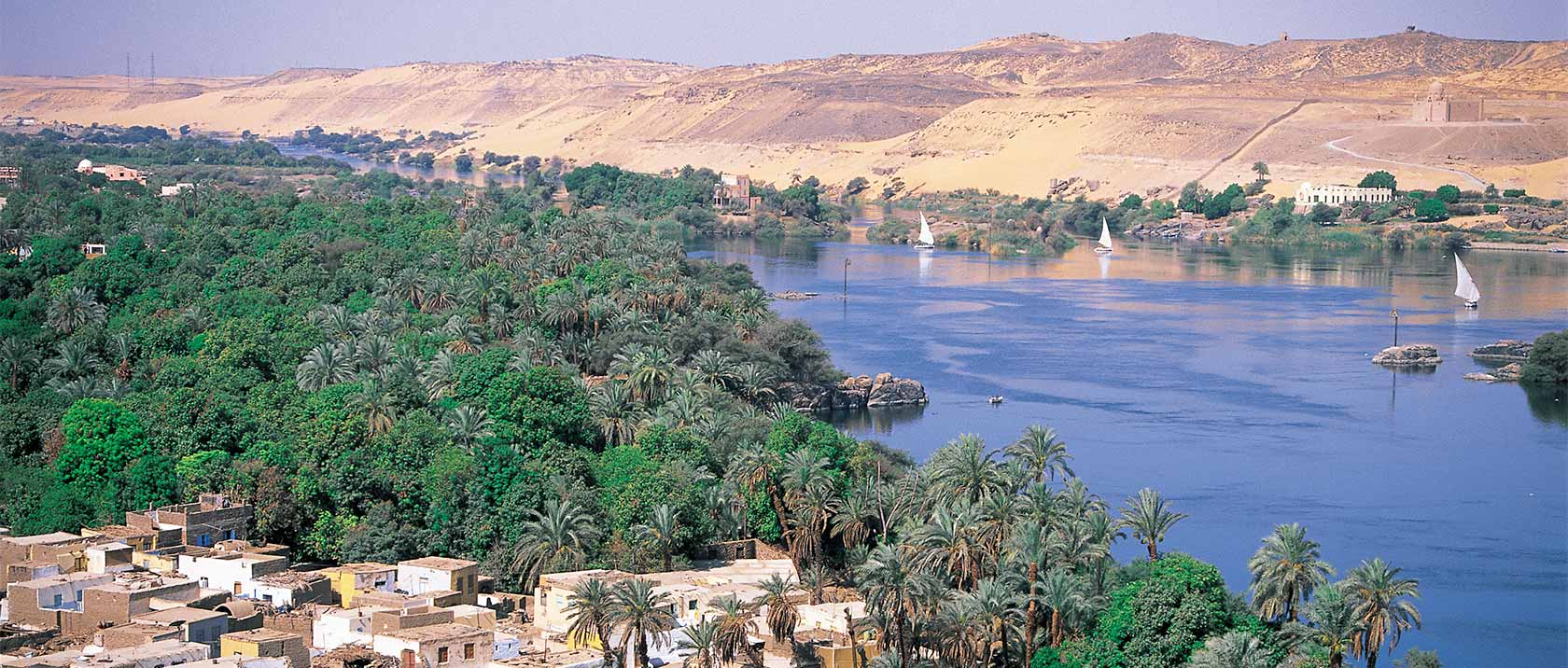 Panorama of the Nile river near Aswan
