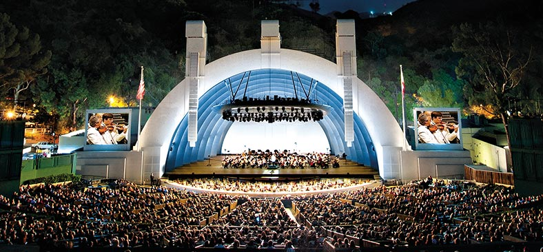 Performance at Hollywood Bowl with orchestra and audience