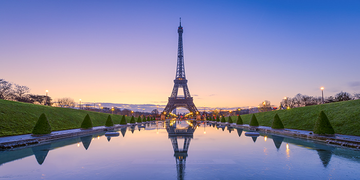 Eiffel Tower and reflecting pond in Paris
