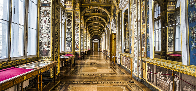 Interior hallway of the Hermitage in St. Petersburg, Russia