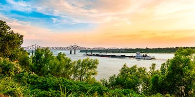 Vicksburg Bridge with River Boat