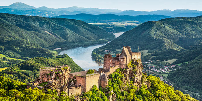 Aerial view of Aggstein Castle on the bank of the Danube in Wachau, Austria.