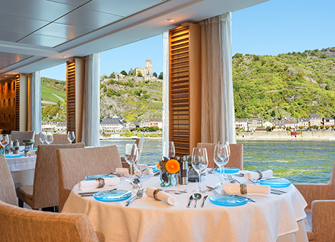 The restaurant on board a Viking river ship