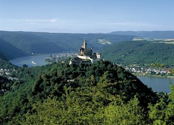 Aerial photo of Marksburg Castle in in Rhineland-Palatinate, Germany