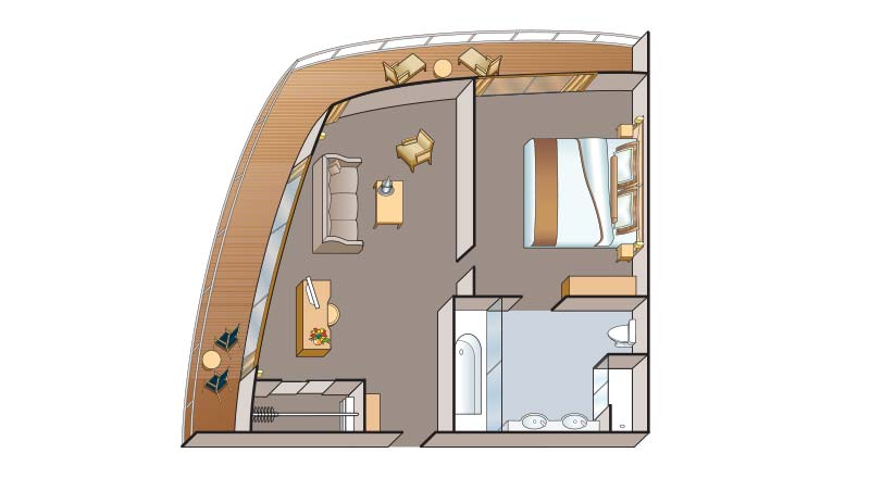 Floorplan of an Explorer Suite stateroom