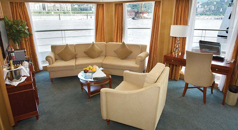 Living room of the Explorer Suite stateroom of a Viking river ship