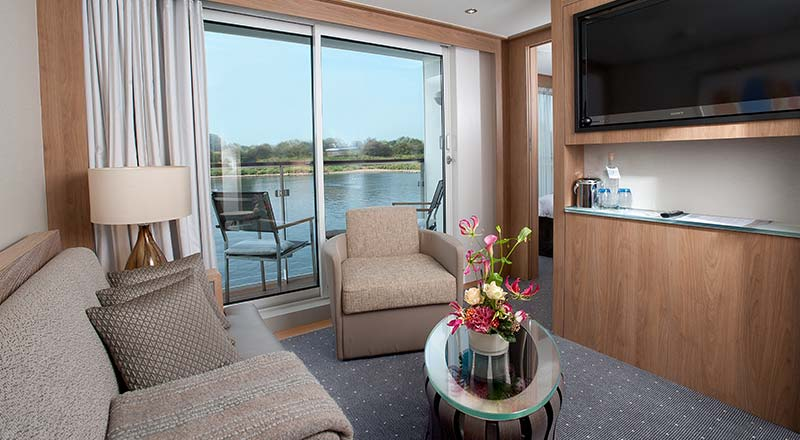 Living area in a Veranda Suite on board a Viking river ship