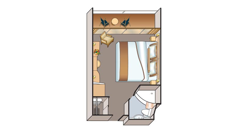 Veranda stateroom floorplan on Viking Russia vessels