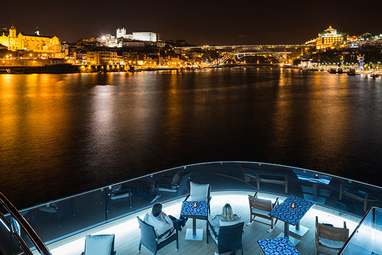 Porto, Portugal at night from Aquavit Terrace of Viking Torgil