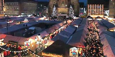 Aerial view of a European Christmas market