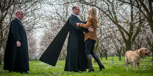 Karine Hagen dancing with a Benedictine monk at Gottweig Abbey