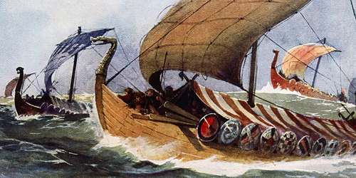 Painting of an original Viking longship