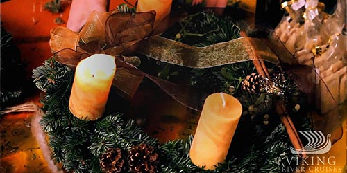 A Christmas wreath with candles