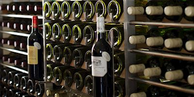 Rack of various wines